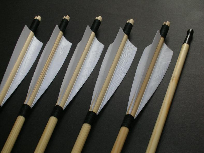 "Self Nocked Arrows 5"" fletched, 11/32 shaft. x6"
