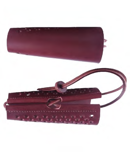 Stag Bracer, terracotta leather arm guard.