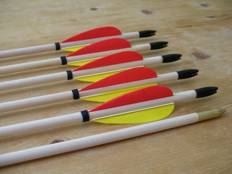 Standard Arrows 4 inch Fletched 5/16-11/32 D.
