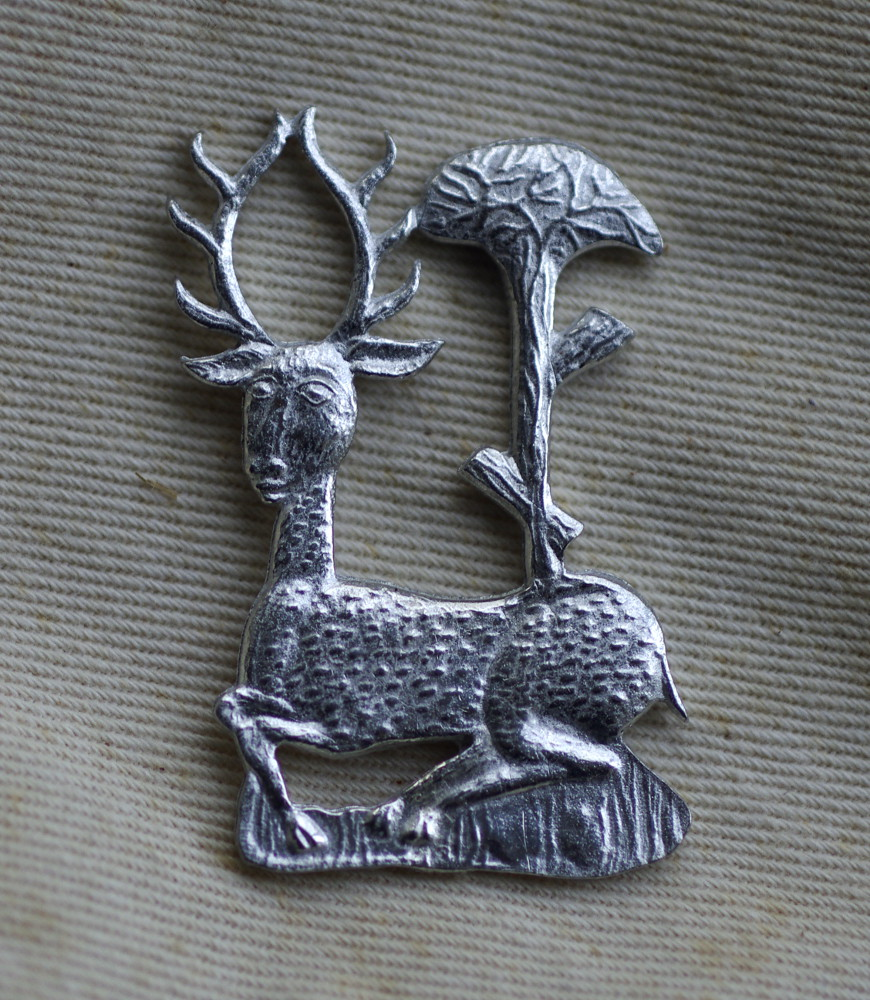 White Hart pewter badge