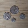 14th C replica pewter coins.