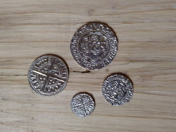 14thC replica medieval coins.