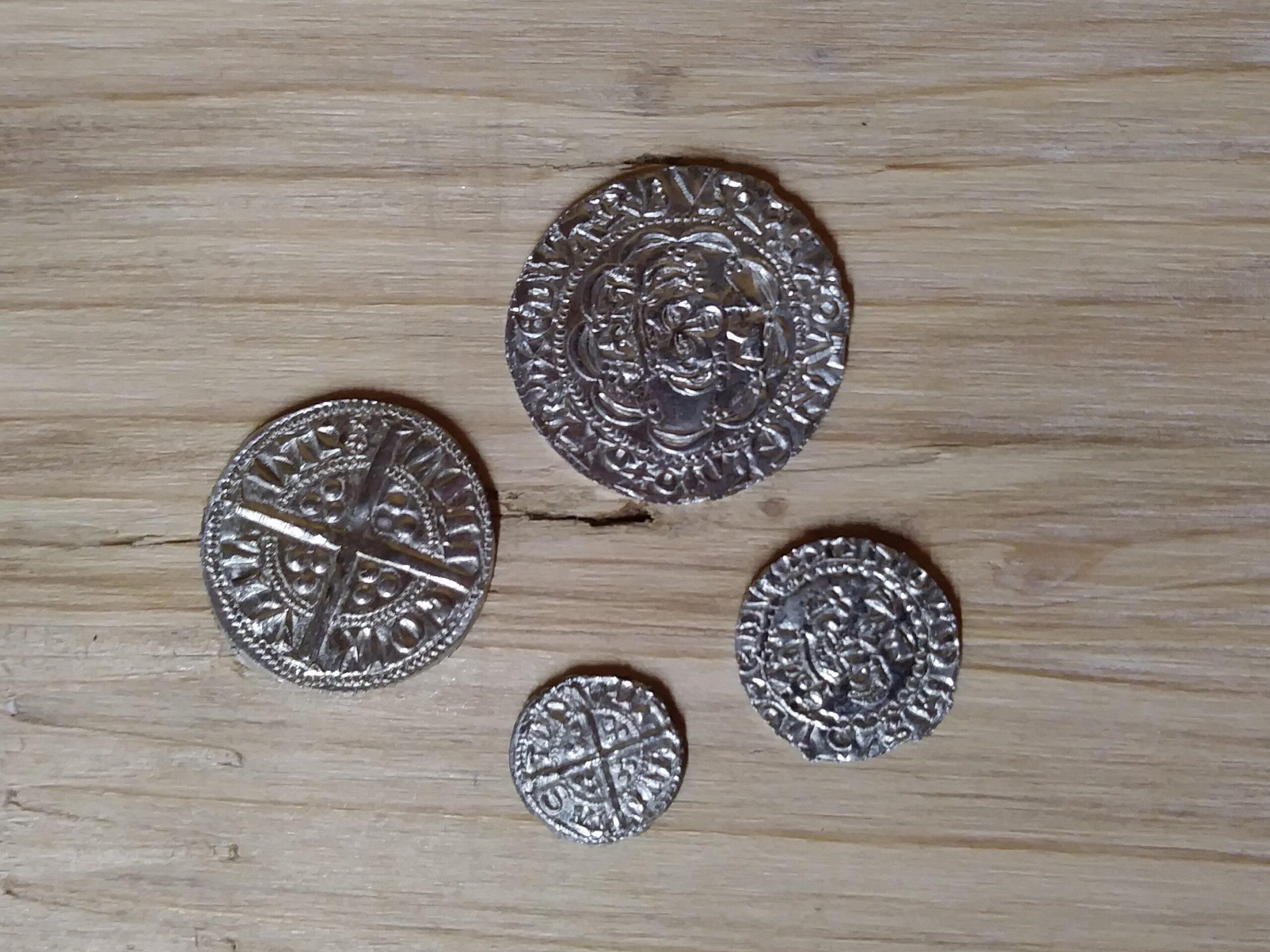 14thC replica medieval coins.